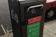 One of the BigBelly solar bins used in the trial