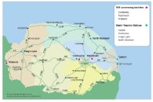 Council map showing proposed network of transfer stations to process waste into RDF