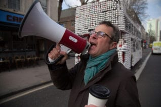 Hugh Fearnley-Whittingstall will confront coffee chain giants on their recycling policies in his 'War on Waste' documentary (C) Keo Films - Photographer: Gus Palmer